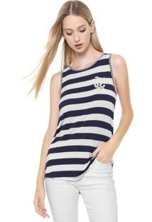 08530e12c7862b Dafiti Regata Calvin Klein Jeans Listras Off White/Azul-Marinho