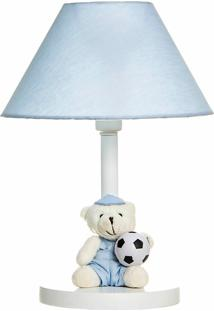 Abajur Madeira Urso Com Bola Quarto Bebê Infantil Potinho De Mel Azul - Kanui