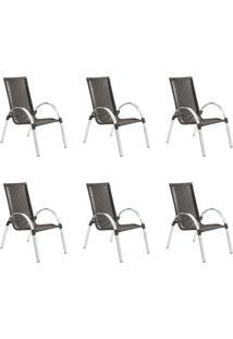 Conjunto Com 6 Cadeiras Driely Marrom