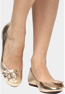 Sapatilha Couro Shoestock Flor Feminina - Feminino-Dourado