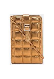 Carteira Porta Celular Textura Quadriculada | Satinato | Dourado | U
