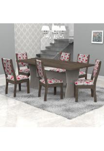 Conjunto Sala De Jantar Mesa Tampo Em Mdf E 6 Cadeiras Paris Móveis Meneghetti Teka/Wengue/A50