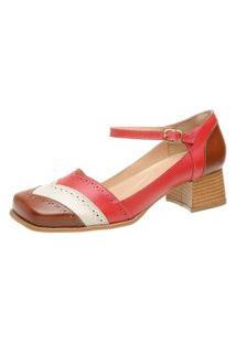 Sapato Bico Quadrado Ref: 3167 Chocolate / Off White / Rubi