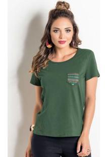 Blusa Verde Com Bolso Bordado E Manga Curta