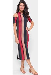 Vestido Morena Rosa Midi Gola Alta Abertura Ombro Listrado - Feminino-Preto+Vermelho