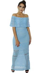 Vestido Longo Vitória Lótus Tricot Modelo Cigana Com Pala Azul