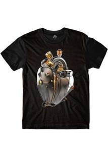 Camiseta Bsc Coração De Máquina Motor Bronze Sublimada Masculina - Masculino-Preto
