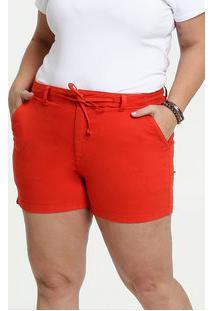 Short Feminino Sarja Amarração Plus Size