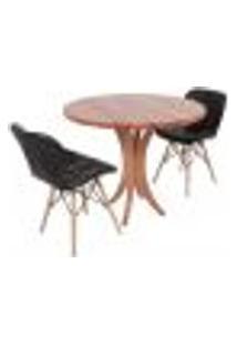 Conjunto Mesa De Jantar Tampo De Madeira 90Cm Com 2 Cadeiras Slim - Preto