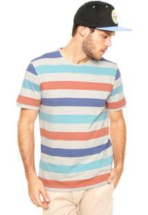 Camiseta Globe Listrado Cinza/Roxa.Laranja