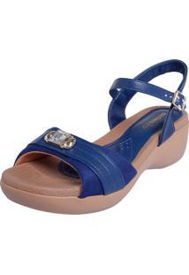 Sandália Azaleia Anabela Lev Pedra Azul