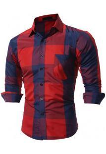 Camisa Masculina Slim Xadrez Manga Longa - Vermelho