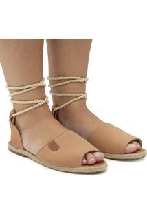 Sandalia Gladiadora Nobuk Bege - Kanui