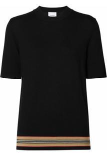 Burberry Blusa Listrada Com Mangas Curtas - Preto