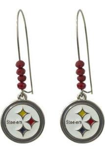 Brinco Pittsburgh Steelers Nfl C/ Pingente Metálico - Feminino-Vermelho