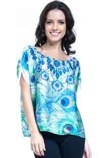 Blusa 101 Resort Wear Crepe Estampada Pena Azul