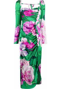 Giuseppe Di Morabito Vestido Longo Franzido Com Estampa Floral - Verde