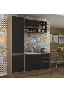 Cozinha Compacta 3 Peças 5 Portas Safira Siena Móveis Avelã Tx/Ônix Tx