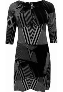 Vestido Pau A Pique 3/4 Estampado - Feminino-Preto