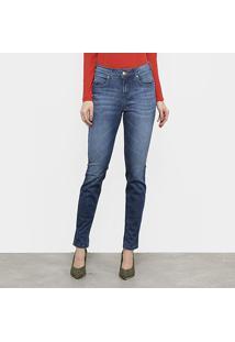 Calça Jeans Skinny Sommer Estonada Cintura Média Feminina - Feminino-Azul Escuro