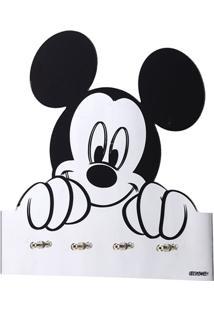 Porta Chaves De Parede Em Vidro Mickey 25Cm Espelhado E Preto