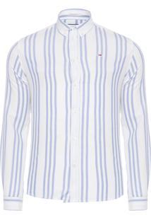 Camisa Masculina Oxford Stripe - Branco