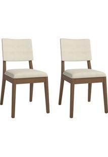 Conjunto Com 2 Cadeiras De Jantar Ella Bege