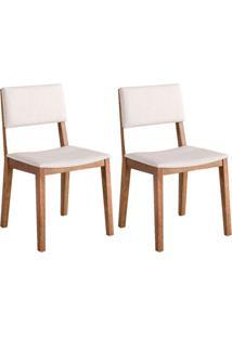 Conjunto Com 2 Cadeiras De Jantar Dime Bege E Castanho