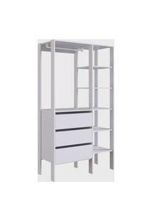 Closet 3 Gavetas Db001 Branco Placa&Ponto