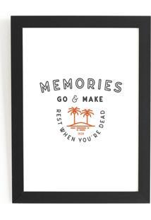 Quadro Decorativo 33,5X45,5 Com Vidro E Moldura Preta - Iven Memories Fundo Branco