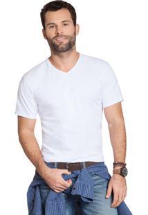 Camiseta Olimpo Camisaria Meia Malha Decote V Manga Curta Branco