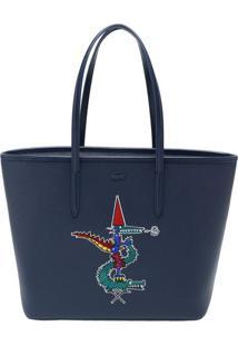 Bolsa Texturizada Em Couro Com Bordado - Azul Marinho & Lacoste
