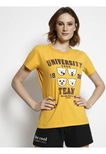 "Camiseta ""University Coke Team""- Amarela & Preta- Cococa-Cola"