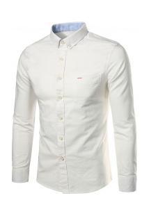 Camisa Casual Masculina Slim Manga Longa - Branco