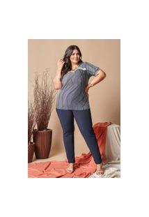 Blusa Estampada Almaria Plus Size Lilian Plus Bordado Inglês Azul Marinho