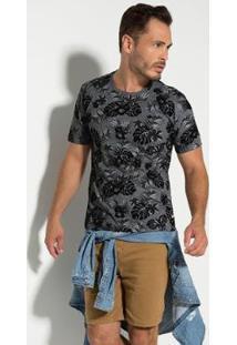 Camiseta Seeder Floral Masculina - Masculino-Cinza+Preto