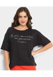 Camiseta Sommer Linho De Pés Descalços No Paraíso Feminina - Feminino-Preto