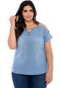 Blusa Elegance All Curves Jeans Plus Size Azul Samantha