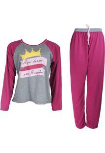 Pijama Ayron Fitness Rainha Rosa E Cinza Longo