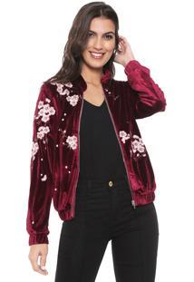 Jaqueta Bomber Lily Fashion Veludo Bordada Vinho