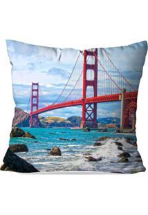 Capa De Almofada Avulsa Decorativa Ponte Golden Gate 35X35Cm