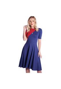 Vestido Duas Cores Ficalinda Azul Marinho E Vermelho Meia Manga Decote Canoa