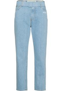 Off-White Calça Jeans Cropped Cintura Média - Azul