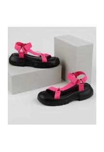 Papete Feminina Oneself Flatform Tratorada Com Velcro Rosa
