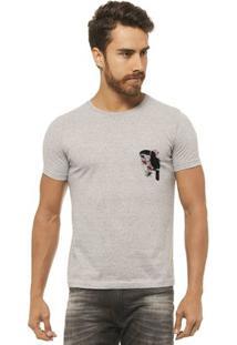 Camiseta Joss - Tucano Flor Branco - Masculina - Masculino-Mescla
