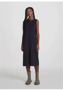 Vestido Midi Básico Com Fenda Preto