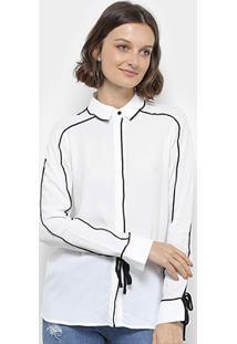 Camisa Colcci Contornos Amarração Punho Feminina - Feminino-Off White