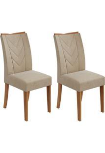 Conjunto De Cadeiras De Jantar 2 Atacama Veludo Rovere E Bege