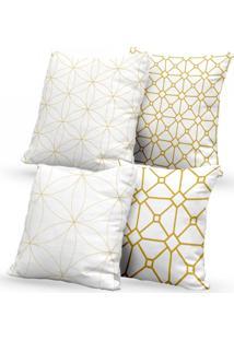Kit 4 Capas De Almofadas Decorativas Own Brancas Geométricas 45X45 - Somente Capa