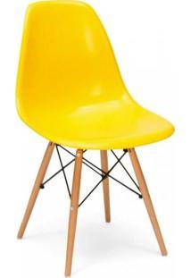 Cadeira Com Encosto E Pés Em Madeira Flórida Siena Móveis Amarelo